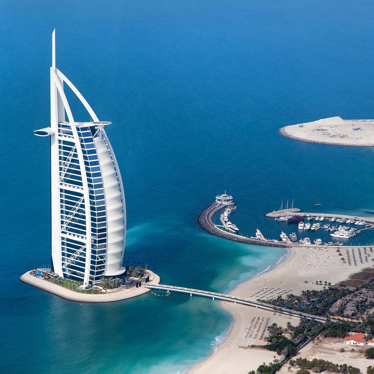 Aerial photo of Dubai, UAE. Burj Al Arab